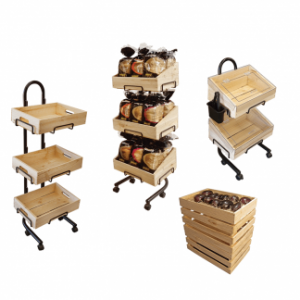 Deli Wooden Crate & Basket Stands