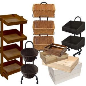 Wooden Crates, Baskets & Display units